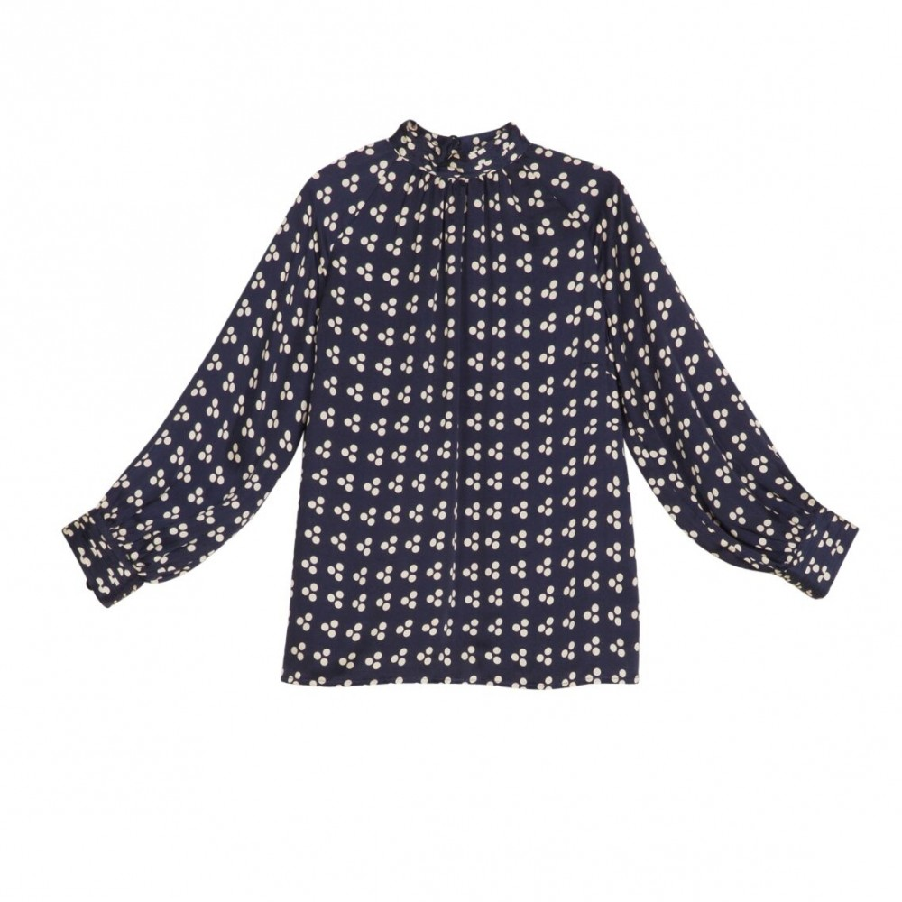 By Ti mo Satin High Neck Blouse japanese dots | Classique AS