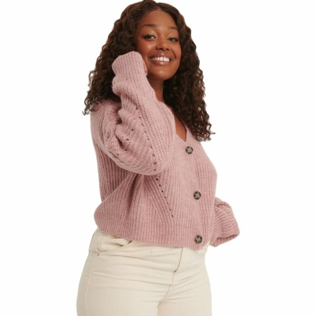 NA-KD - OVERSIZED CROPPED CARDIGAN - DUSTY PINK