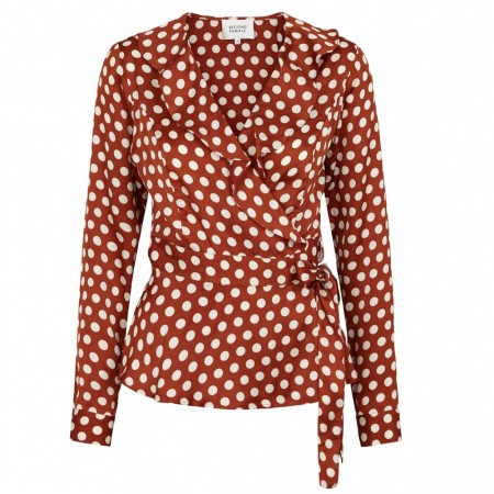 Second Female - Spotty Wrap Blouse - Rustic brown