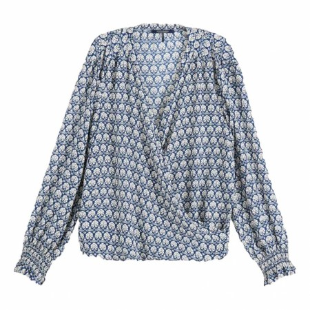 MAISON SCOTCH - WRAP-OVER WITH SMOCKED CUFF - BLÅ