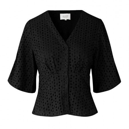SECOND FEMALE- MILLY SS BLOUSE - BLACK