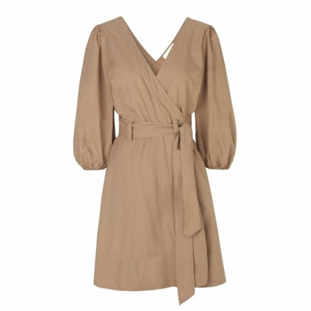SECOND FEMALE - PHOEBE WRAP SHORT DRESS - CAMEL